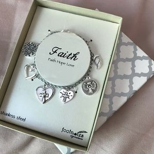 Jewelry - Footnotes Faith Hope Love Silver Bracelet